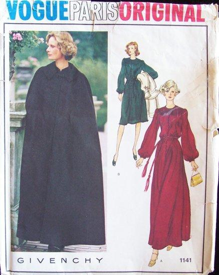 Vintage 70s Vogue Paris Original 1141 Givenchy Evening Dress and Opera Cape Pattern Size 14