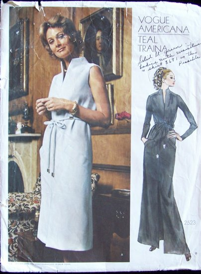 Vintage Vogue Americana  2523 Teal Traina Evening Dress Pattern Standing Open Slit Neckline