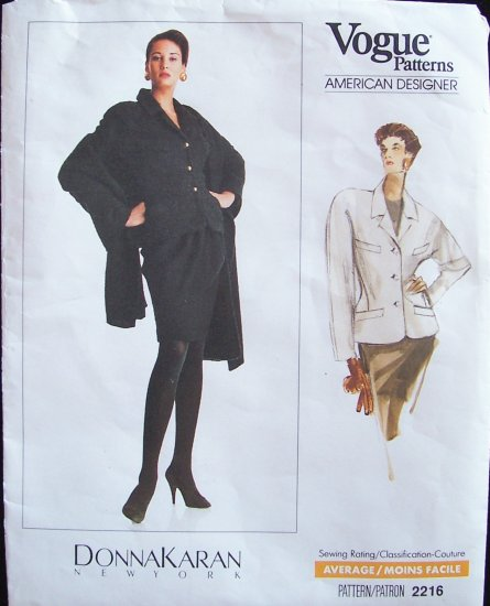 Retro 80�s Vogue American Designer  2216 Donna Karan Jacket and Shawl Pattern Size 16