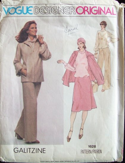 Vintage Vogue Designer Original 1628 Galitzine Jacket Blouse Skirt and Pants Pattern Size 14