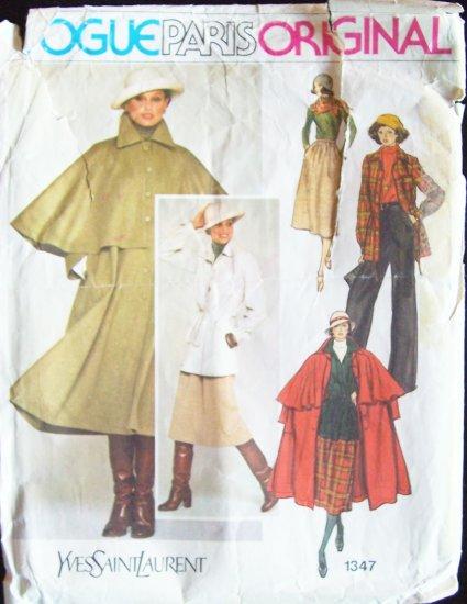 Vintage Vogue Paris Original 1347 Yves Saint Laurent Coat Top Skirt and Pants Pattern YSL
