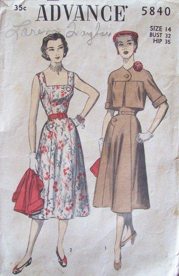 Vintage 50�s Advance 5840 Sundress and Bolero Sewing Pattern Size 14