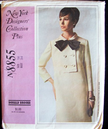 Vintage 60s McCall�s  8855 New York Designer Donald Brooks Yoked Dress Pattern Uncut