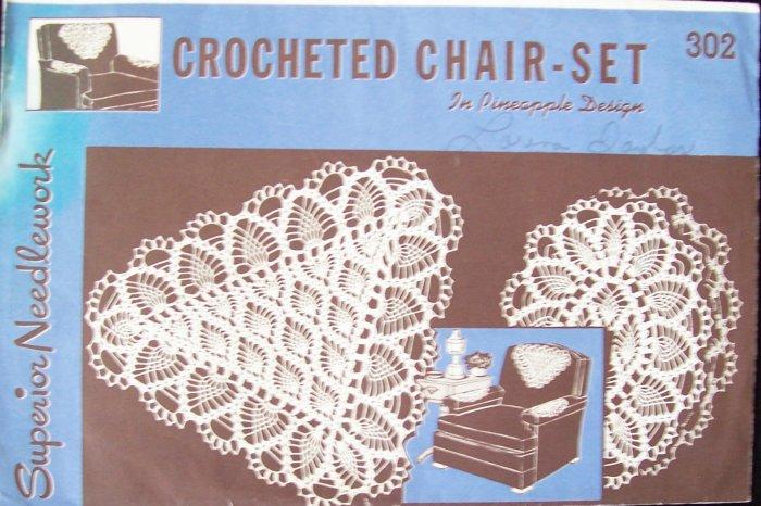 Vintage Superior Needlework No 302 Crocheted Chair Set Pattern In Pineapple Design