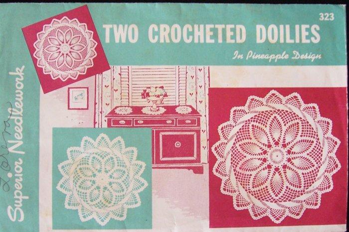 Vintage Superior Needleworks No 323 Pineapple Design Doily Pattern Two Sizes