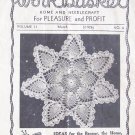 Vintage 40's The Workbasket Home and Needlecraft Pullout Crochet Instruction Booklet