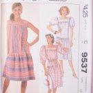 Vintage 80s Easy McCall's  9537 Drop Waist Square Neck Summer Dress Pattern Uncut