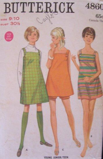 Vintage 60s Butterick 4860 Junior�s Mini Sundress Dress or Jumper and Shorts Pattern