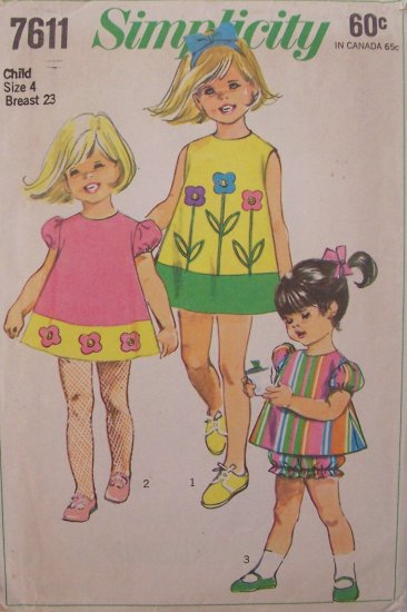Vintage 1968 Simplicity  7611 Girl�s Dress and Bloomers Sewing Pattern Size 4
