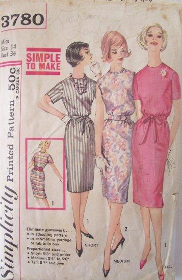 Vintage 60s Simplicity 3780 Simple Slim Dress Sewing Pattern Round Neckline Size 14