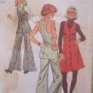 Vintage 70s Simplicity  5754 Racer Back Mini Jumper Dress Tunic Wide Leg Pants Pattern Uncut