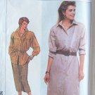 Retro 80s Simplicity  7886 Shirt Dress Skirt Pattern Uncut Size 16 Long Sleeve Button Front