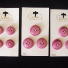 Vintage Ten La Mode Pink Buttons Carded Two Sizes