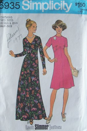 Vintage 70s Simplicity 6935 High Waist Evening or Cocktail Dress Pattern Long Sleeve