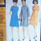 Vintage 60s McCall's 9268 A-Line Bell Sleeve Dress Pattern Mod Style Size 14 ½