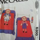 Vintage 70's McCall's  6300 Raggedy Ann Andy Appliqued Quilt Pillow Shams Small Doll Pattern