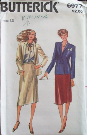 Butterick 6977 Double Breasted Jacket Side Wrap Skirt Pattern Uncut Size 12