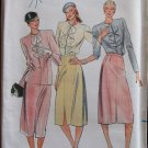 Vintage Butterick 6983 Cardigan Neck Jacket Ruffle Blouse Straight Skirt Pattern Uncut Size 10-14