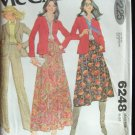 Vintage 70s McCall's 6248 Shawl Collar Blazer Pleated Skirt and Pants Pattern Uncut Size 14