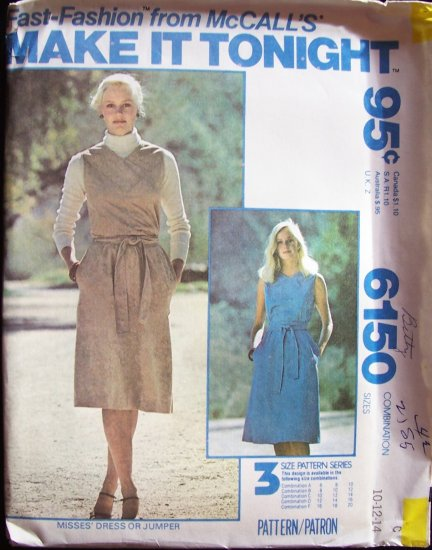 Vintage McCall�s 6150 Dress or Jumper Sewing Pattern Sleeveless Yoke Front Uncut Size 10-14