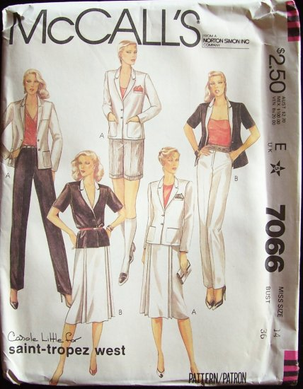 Vintage 80s McCall�s 7066 Carole Little Saint Tropez Jacket Wrap Skirt Pants or Shorts Pattern