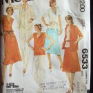 Vintage 70s McCall's 6533 Stand Up Collar Jacket Long Top Skirt and Pants Pattern Uncut