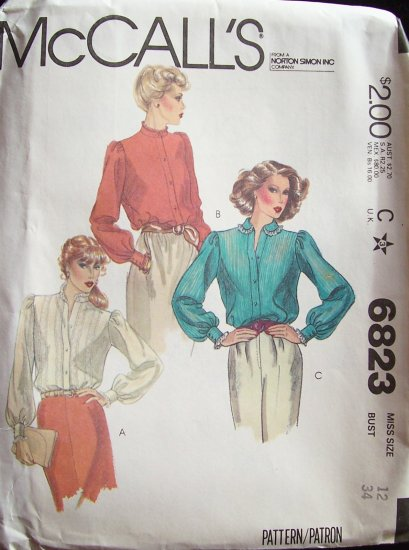 Vintage 70�s McCall�s 6823 Ruffle Collar Dressy Blouse Pattern Uncut Size 12