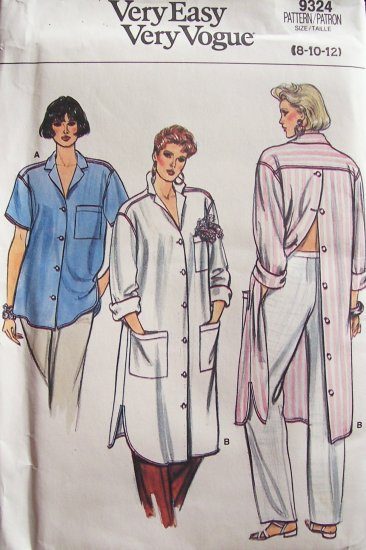 Vintage 80s Vogue 9324 Dropped Shoulder Shirt Pattern Long Length Uncut Size 8-12