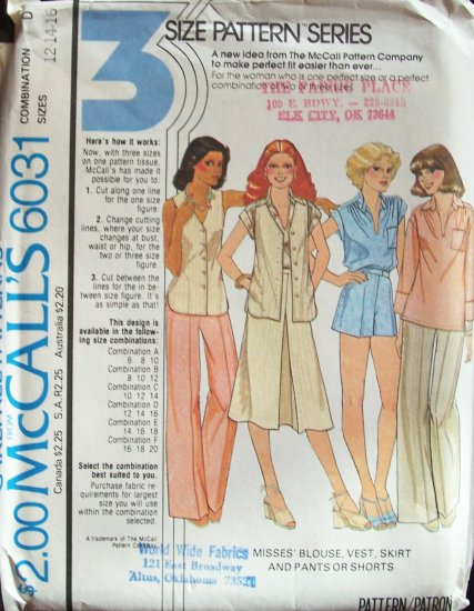 Vintage 1978 McCall�s 6031 Blouse Vest Skirt Pants or Shorts Pattern Uncut