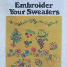 Vintage Butterick 5173 Embroidery Your Sweater Transfer Pattern Uncut Fruit Flowers and More