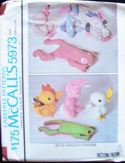 Vintage 70�s McCall�s 5973 Stuffed Frog Duck Rabbit Chicken Animal Sewing Pattern Uncut