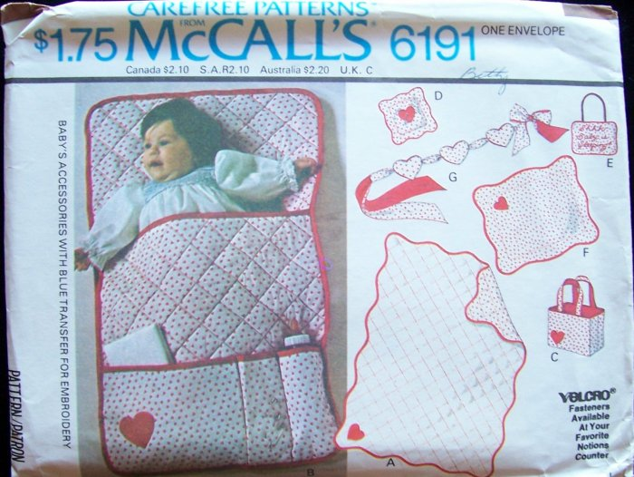 Vintage 70s McCall�s 6191 Baby Accessories Pattern Uncut Quilt Bunting Bag Sham Crib Toy
