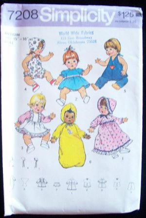 Vintage Simplicity 7208 Medium Baby Doll Clothing Wardrobe Pattern Uncut 15� to 16� Dolls