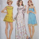 Vintage 70s Simplicity 5030 Baby Doll Pajamas Nightgown Bloomers Pattern Uncut Size 8-10