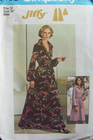 Vintage 70�s Simplicity 7168 Raglan Sleeve Shirt Collar Evening Dress Pattern Uncut Size 12