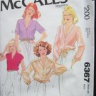 Vintage 70s McCall's 6367 Shawl Collar Dress Blouse Top Pattern Uncut Size 12 Long or Short Sleeve