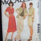 Vintage 70s McCall's 6498 Sleeveless or Short Sleeve Shirt Skirt Pants Shorts Pattern Uncut