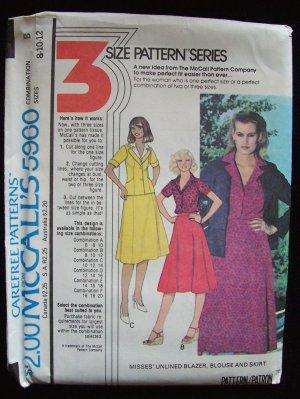 Vintage 70s McCall�s 5960 Princess Seam Blazer Blouse Skirt Dress Suit Pattern Uncut Size 8-12