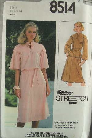 Vintage 70s Simplicity 8514 Yoked Tunic Bell Sleeve Top Skirt Pattern Uncut Size 8-12