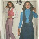 Vintage 70s Simplicity 8156 Jiffy Shaped Vest Skirt and Pants Pattern Uncut Size 12