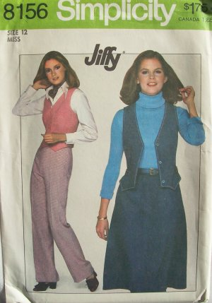 Vintage 70s Simplicity 8156 Jiffy Shaped Vest Skirt and Pants Pattern Uncut Size 12