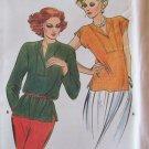 Vintage Butterick 6889 Round Neck Front Silt Blouse Pattern Uncut Size 12