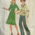 Vintage 70s Simplicity 7665 Shawl Collar Dress or Top Pattern Uncut Size 8
