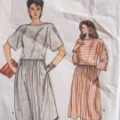 Vintage Vogue 8639 Button Sleeve Top Flared Skirt Pattern Uncut Size 8-12 Two Piece Dress