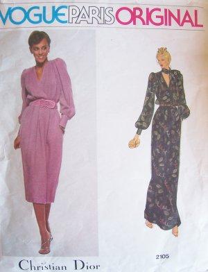 Vogue 2105 Dior Paris Original A-Line Evening Dress Pattern V-Neck Long Sleeve Size 10