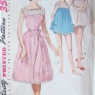 Vintage 50s Simplicity 1553 Baby Doll Nightgown and Panties Sewing Pattern Size 12