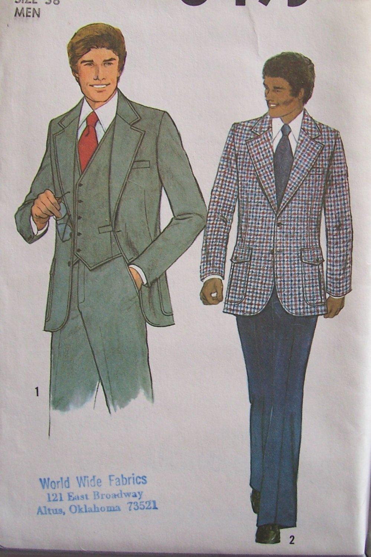 Vintage 70s Simplicity 8493 Men�s Vest Suit Jacket and Pants Pattern Uncut Size 38