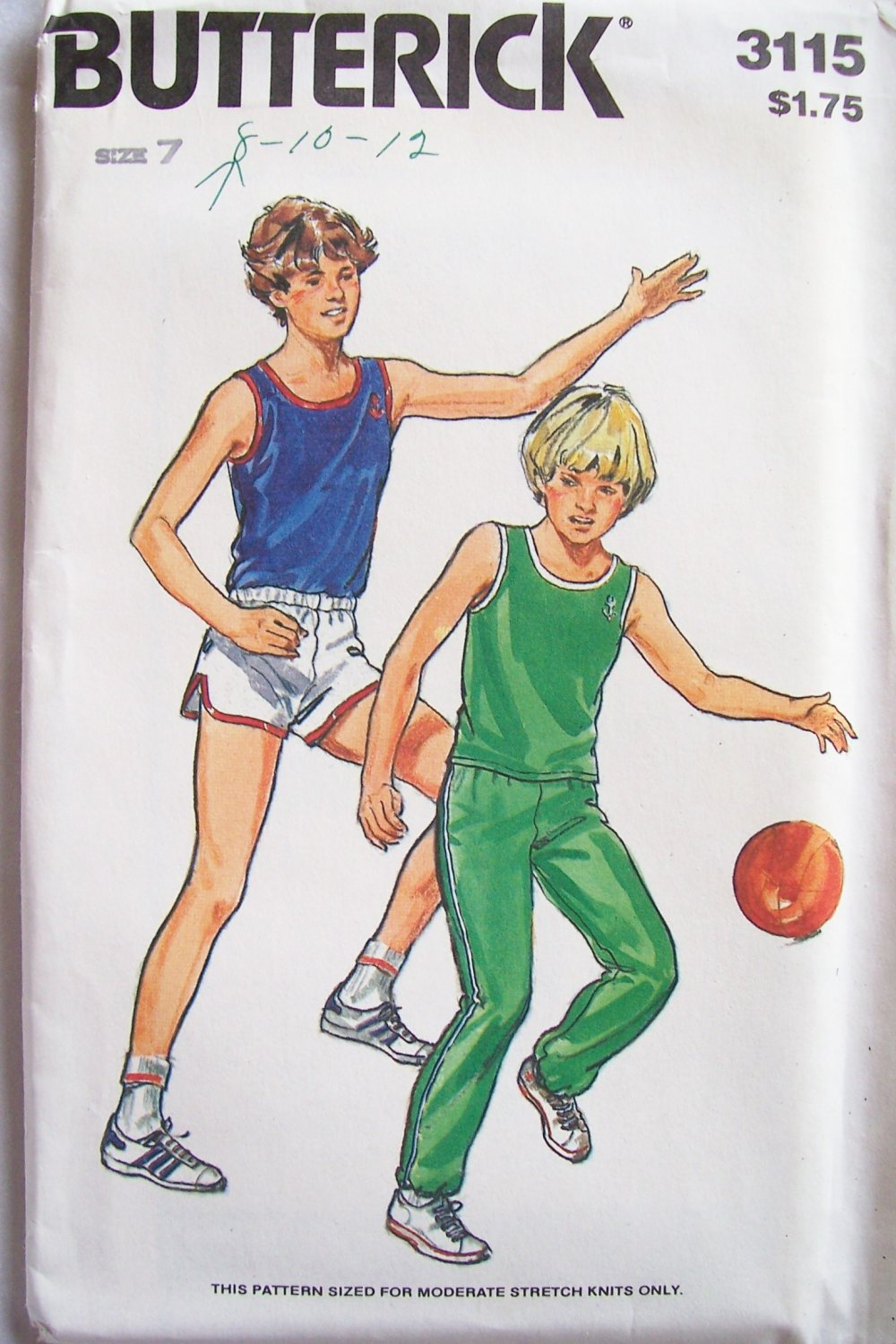 Vintage 70s Butterick 3115 Boy�s Athletic Tank Top Shorts and Pants Pattern Uncut Size 7