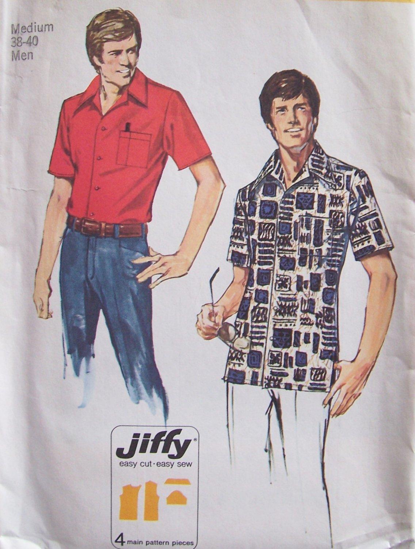 Vintage 1974 Simplicity 6368 Short Sleeve Front Button Summer Shirt Pattern Uncut Size 38-40