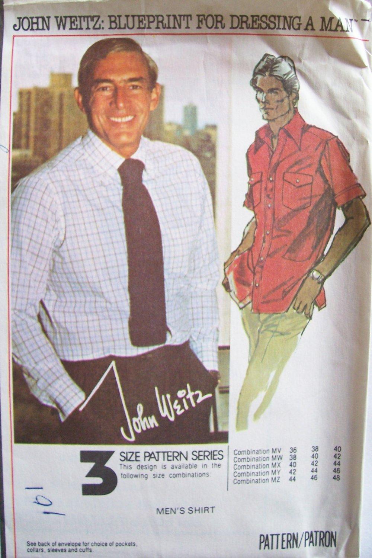 Vintage McCall�s 5741 Men�s Dress Shirt Pattern Front Button John Weitz Uncut Size 36-40